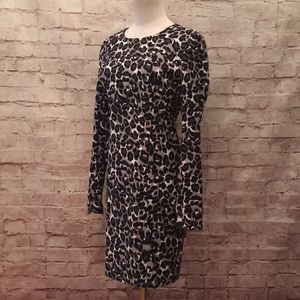 Michael Kors Gray Snow Leopard Zipper Shift Dress